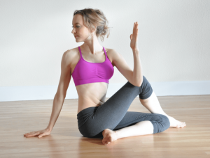seated spinal twist for relieving lower back pain