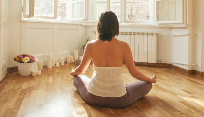 yoga on wooden floor